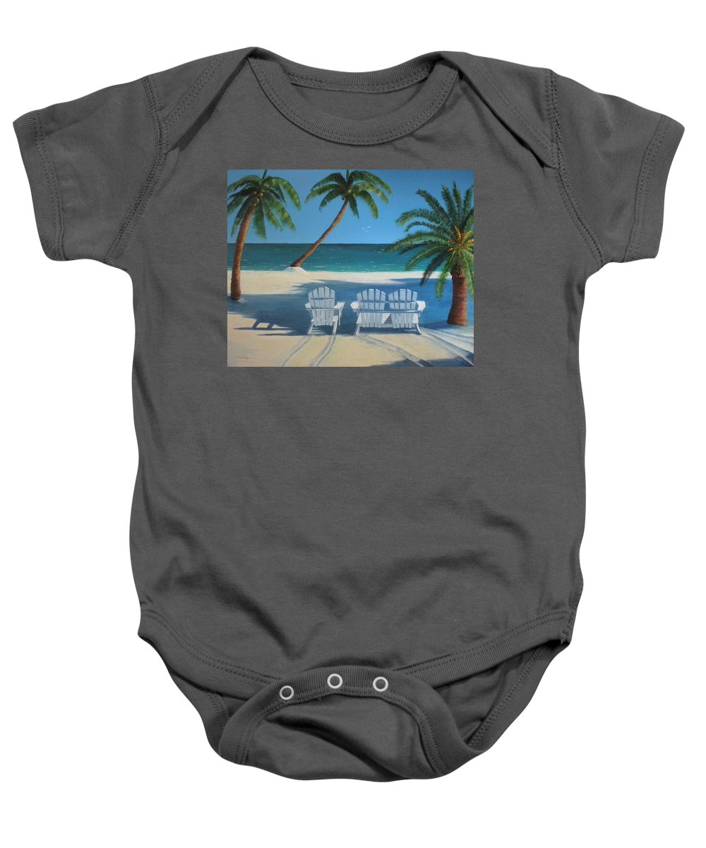 Beach Baby Onesie featuring the painting Beach Chairs No. 1 by CB Woodling