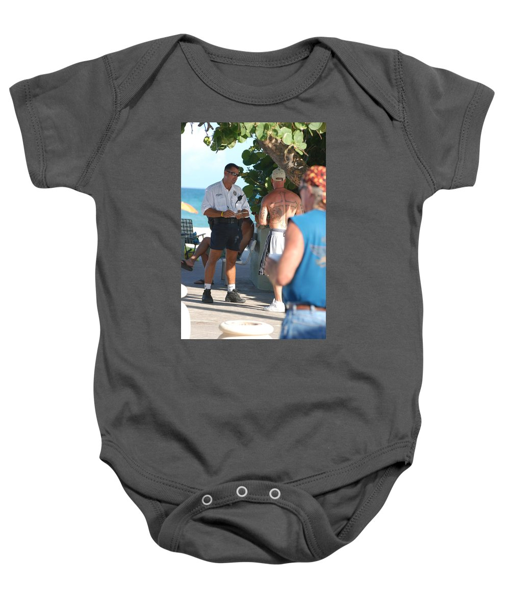 Cops Baby Onesie featuring the photograph Beach Cops And Christ by Rob Hans