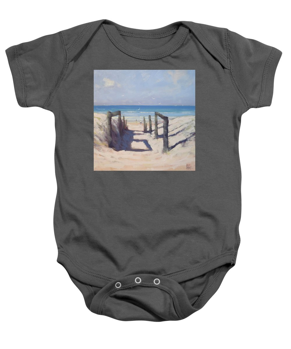 Beach Baby Onesie featuring the painting Beach Path by Mike Barr