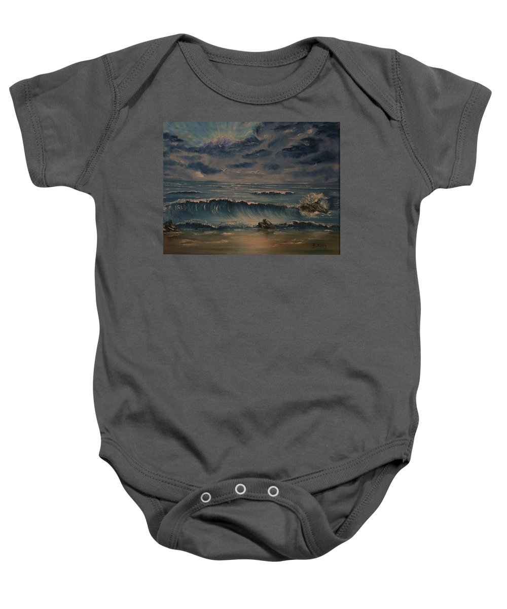 Water Baby Onesie featuring the painting Beach Scene by Stephen King