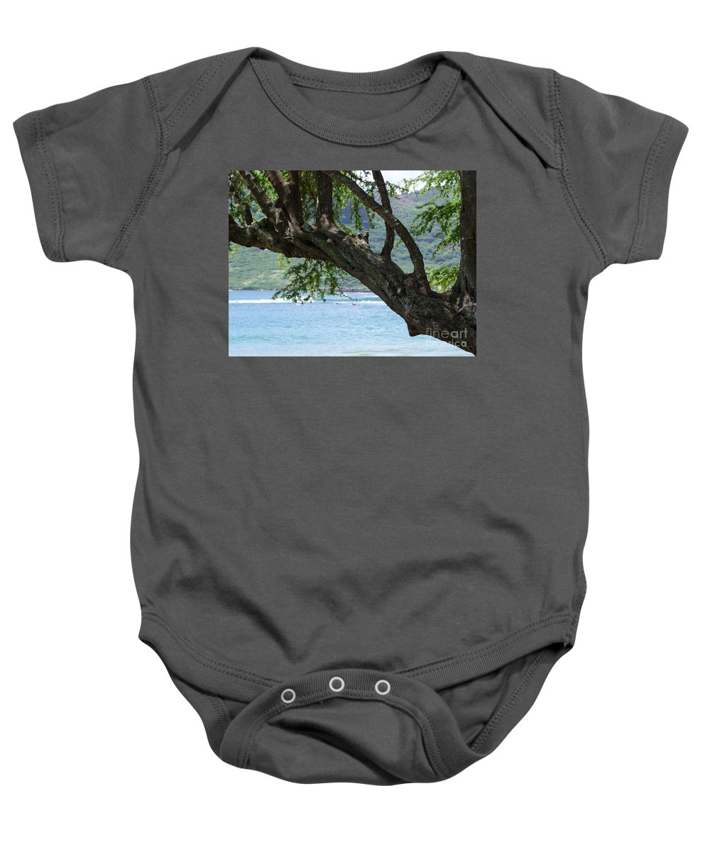 Blue Baby Onesie featuring the photograph Beach Tree by Mary Deal