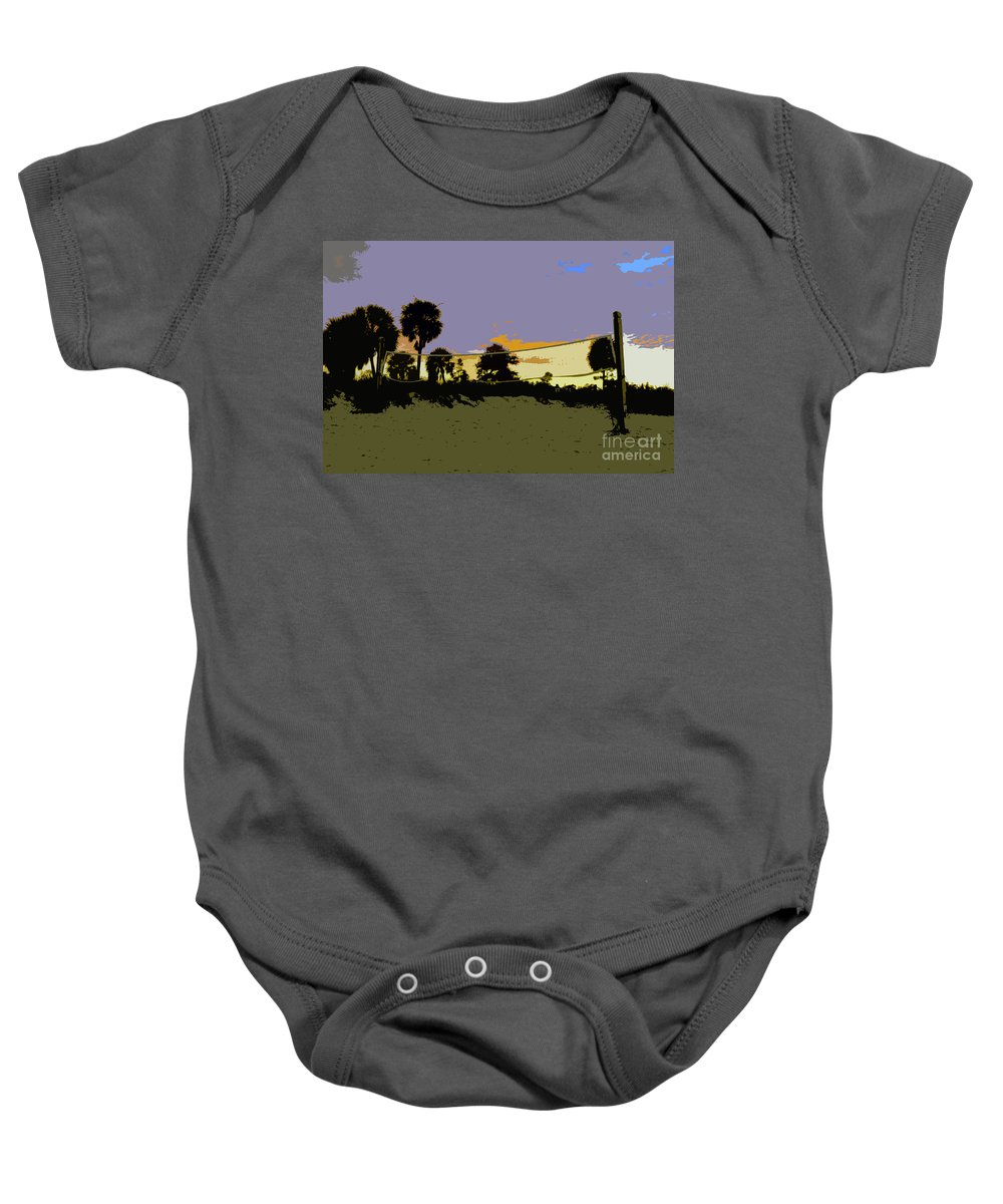 Beach Volley Ball Baby Onesie featuring the painting Beach Volley Ball by David Lee Thompson