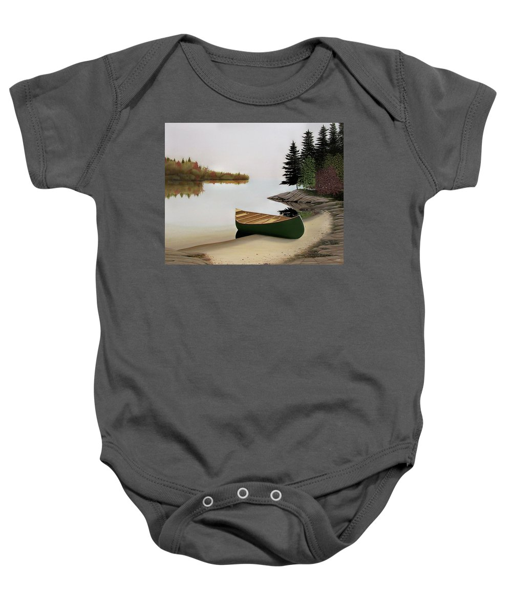 Canoe Paintings Baby Onesie featuring the painting Beached Canoe In Muskoka by Kenneth M Kirsch