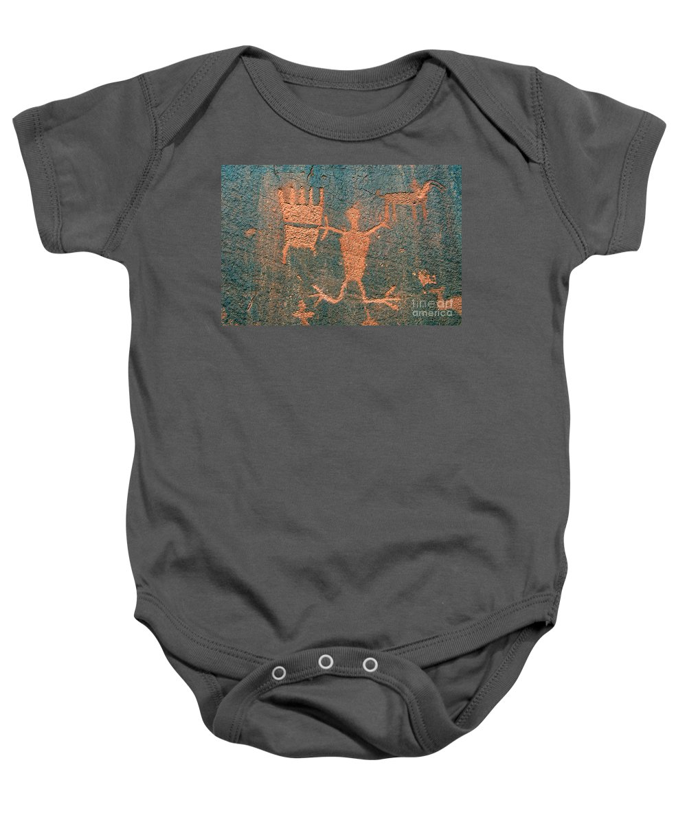 Ute Baby Onesie featuring the photograph Bear Clan Horse Rider by David Lee Thompson