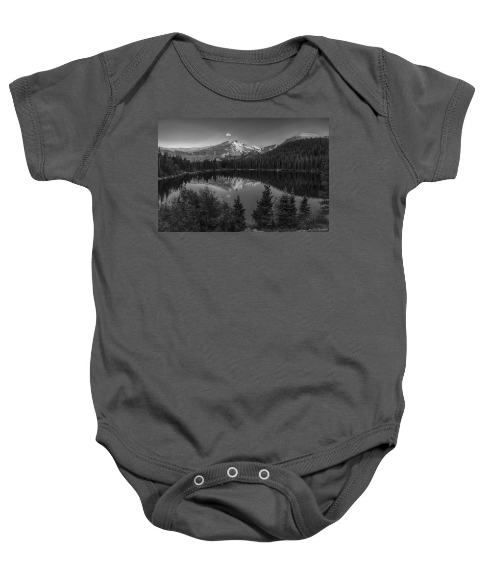 Bear Lake Baby Onesie featuring the photograph Bear Lake In Black And White by Gary Lengyel
