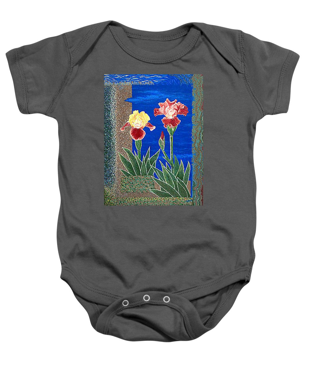 Irises Baby Onesie featuring the painting Bearded Irises Cheerful Fine Art Print Giclee High Quality Exceptional Color by Baslee Troutman