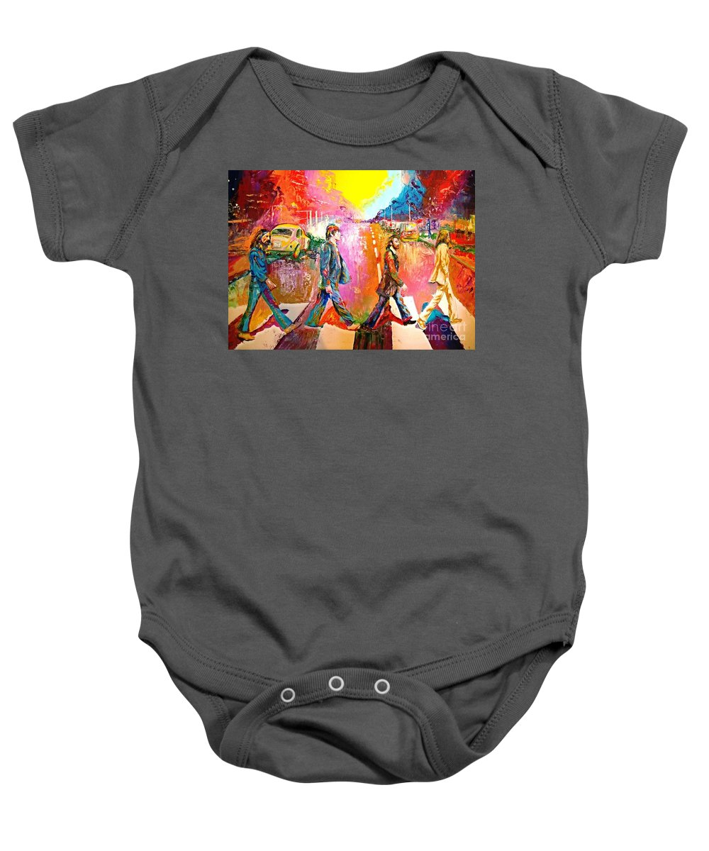 Impressionistice Version Baby Onesie featuring the painting Beatles Abbey Road by Leland Castro