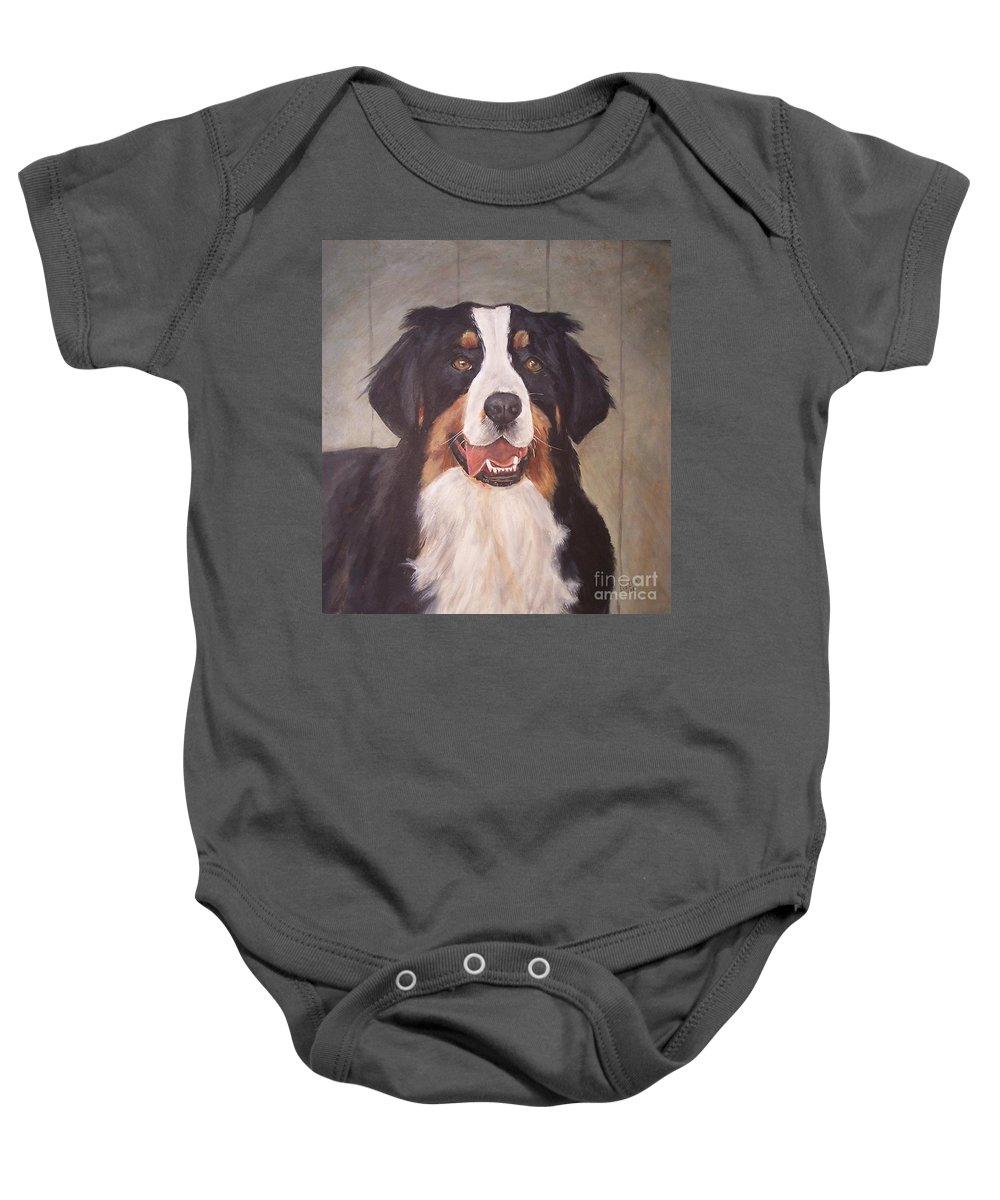 Dogs Baby Onesie featuring the painting Beau by Elizabeth Ellis