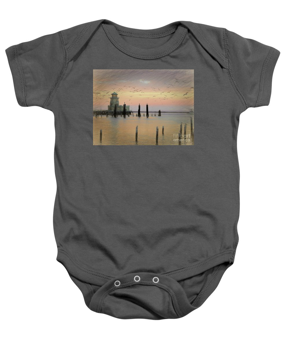 Beau Rivage Lighthouse Baby Onesie featuring the photograph Beau Rivage Lighthouse And Marina by Scott Cameron