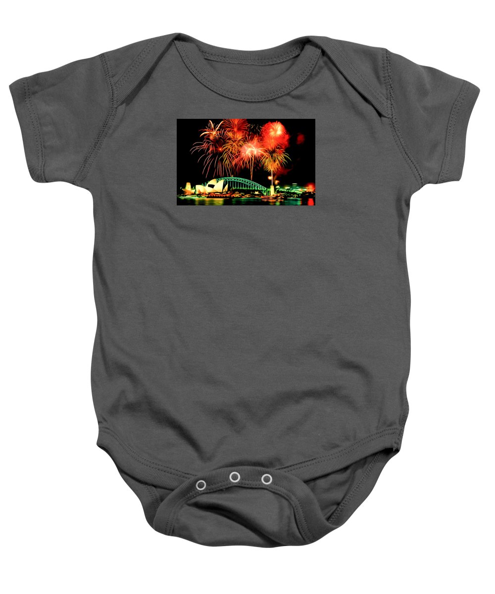 Beautiful Colorful Holiday Fireworks Baby Onesie featuring the painting Beautiful Colorful Holiday Fireworks 2 by Jeelan Clark