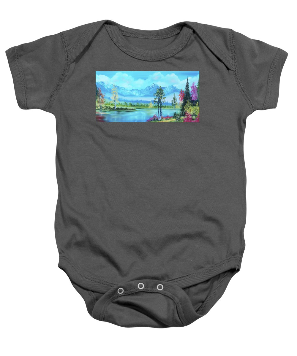 Mountain Lake Baby Onesie featuring the painting Beautiful Fall Day At The Lake by Betty McGregor