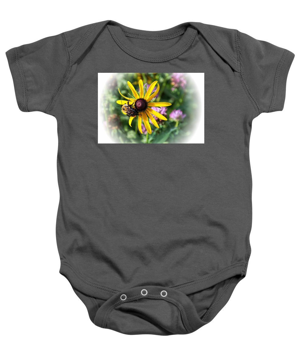 Yellow Baby Onesie featuring the photograph Bee On Yellow Coneflower by Alan Hutchins