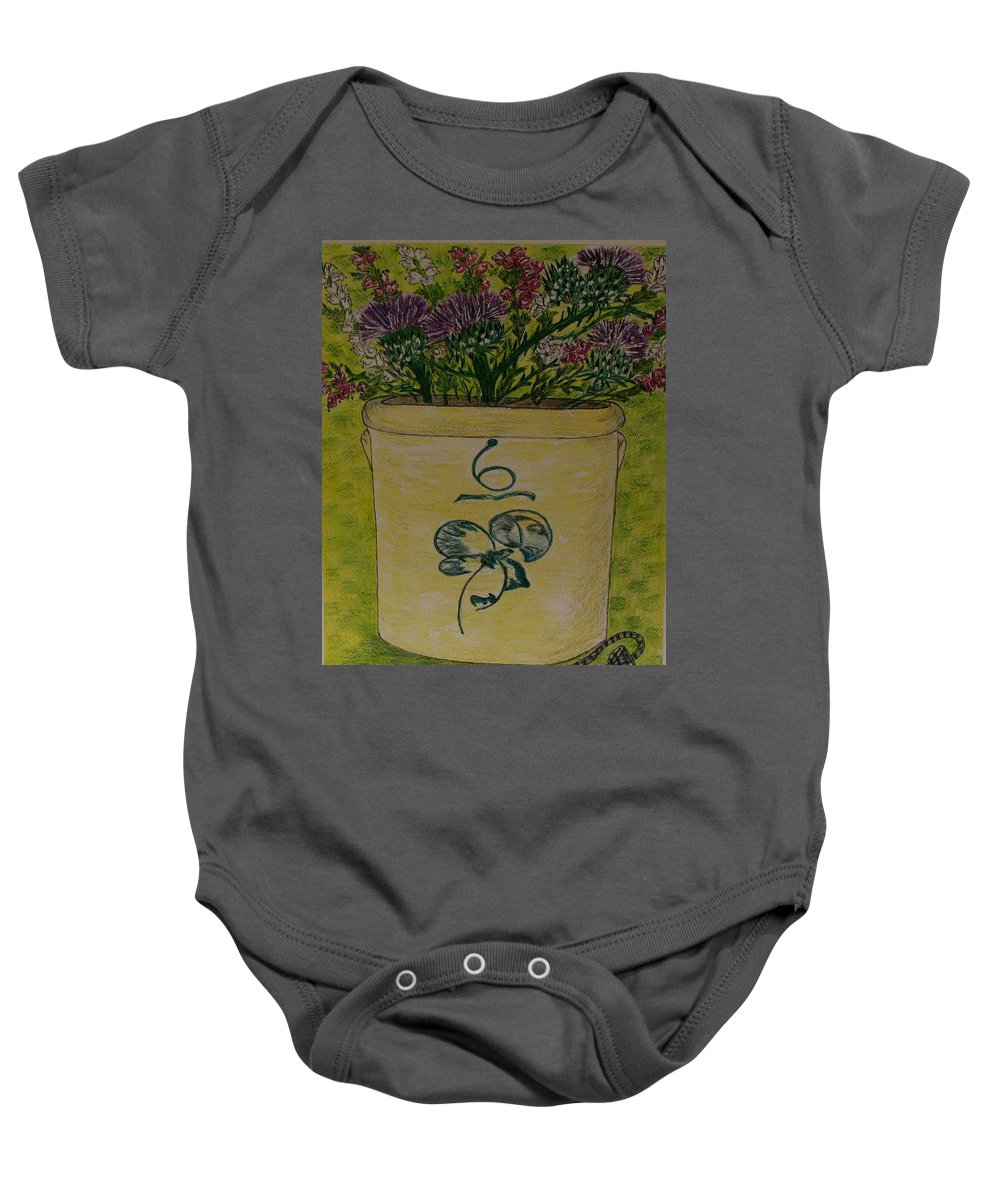 Bee Sting Crock Baby Onesie featuring the painting Bee Sting Crock With Good Luck Bow Heather And Thistles by Kathy Marrs Chandler