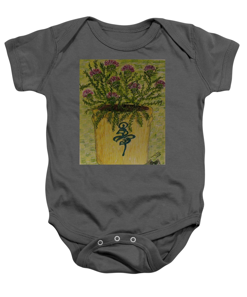 Vintage Baby Onesie featuring the painting Bee Sting Crock With Good Luck Horseshoe by Kathy Marrs Chandler