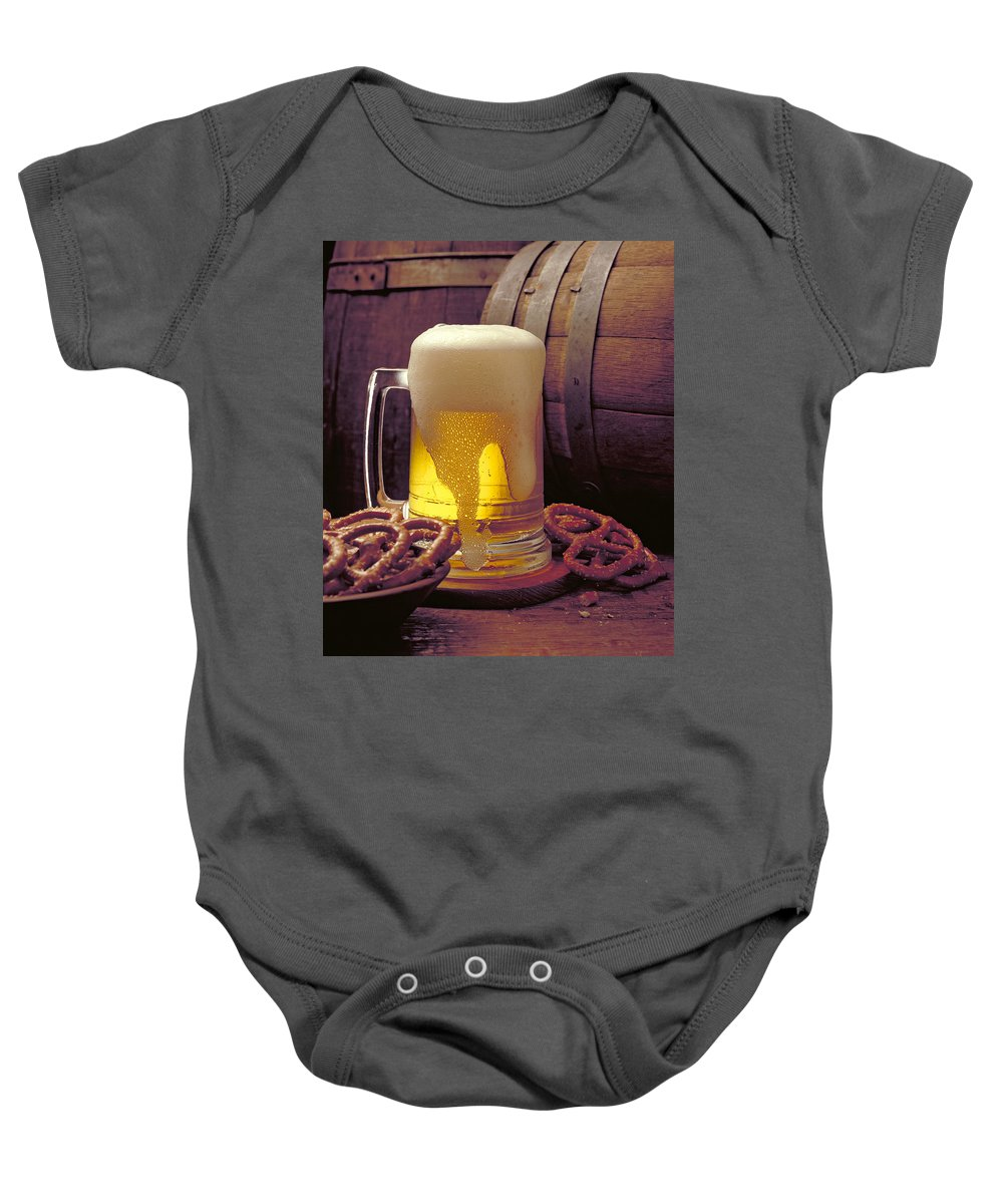 Beer Baby Onesie featuring the photograph Beer And Pretzels by Thomas Firak