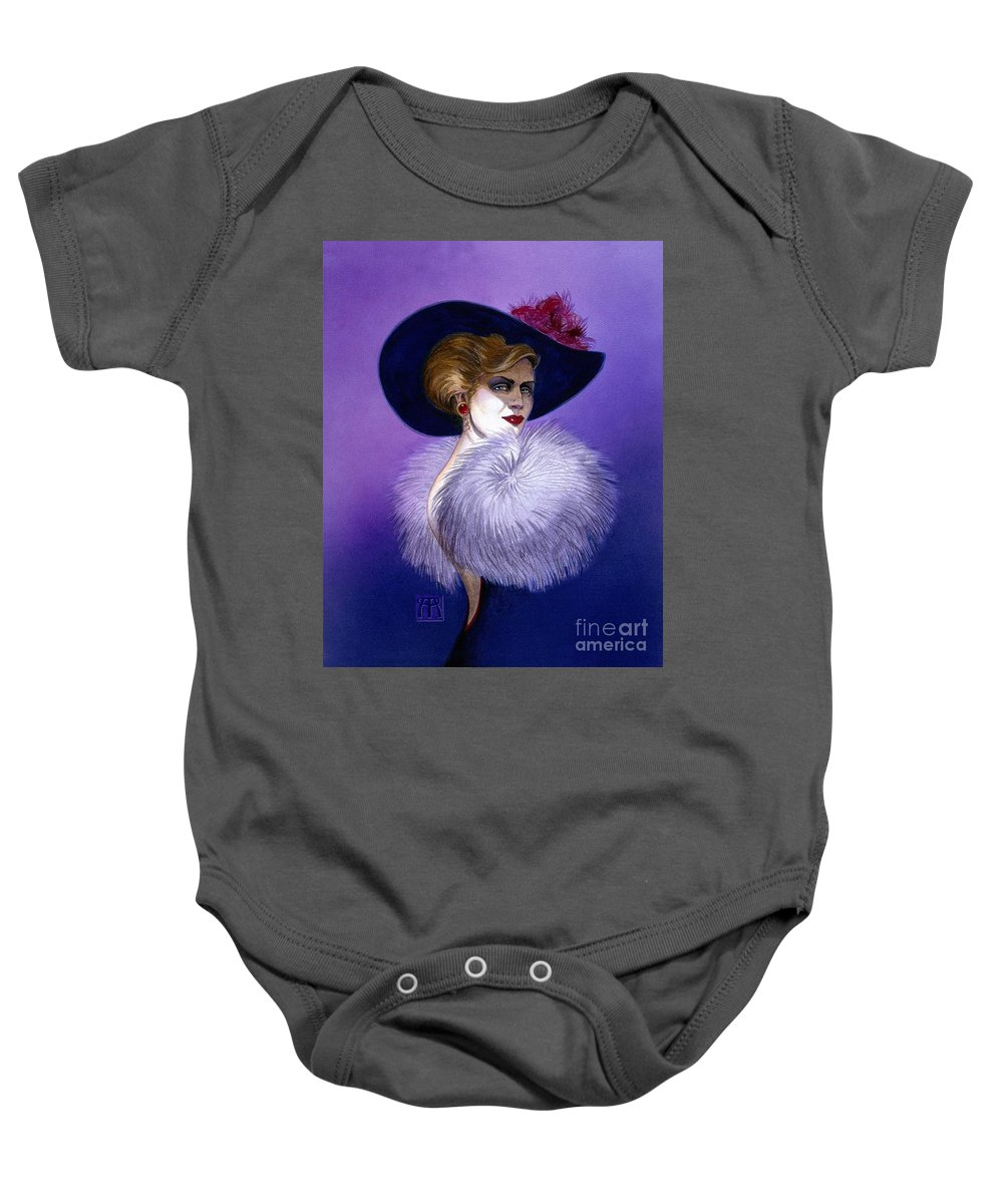 Purple Baby Onesie featuring the painting Beezu by Melissa A Benson