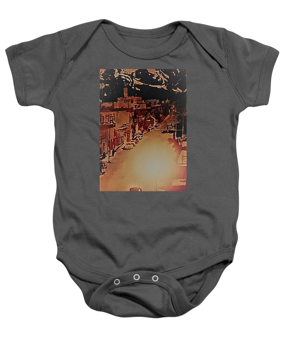 Watercolor Downtown Anchorage Alaska 4th Avenue Theater Grumbacher Watercolor Baby Onesie featuring the painting Before My Time by Anne Garrett