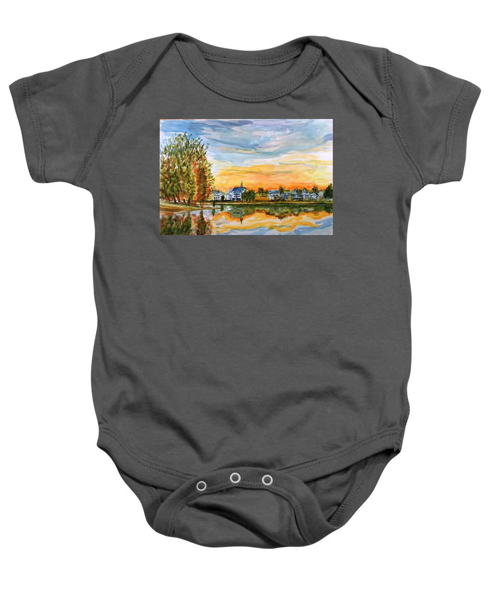 Sunset Baby Onesie featuring the painting Before The Stars by Steve Duke - Artist