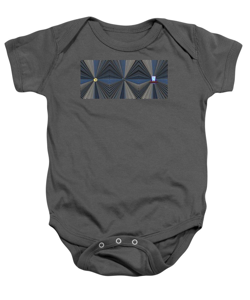 Abstract Baby Onesie featuring the digital art Behind Door Number 3 by Tim Allen