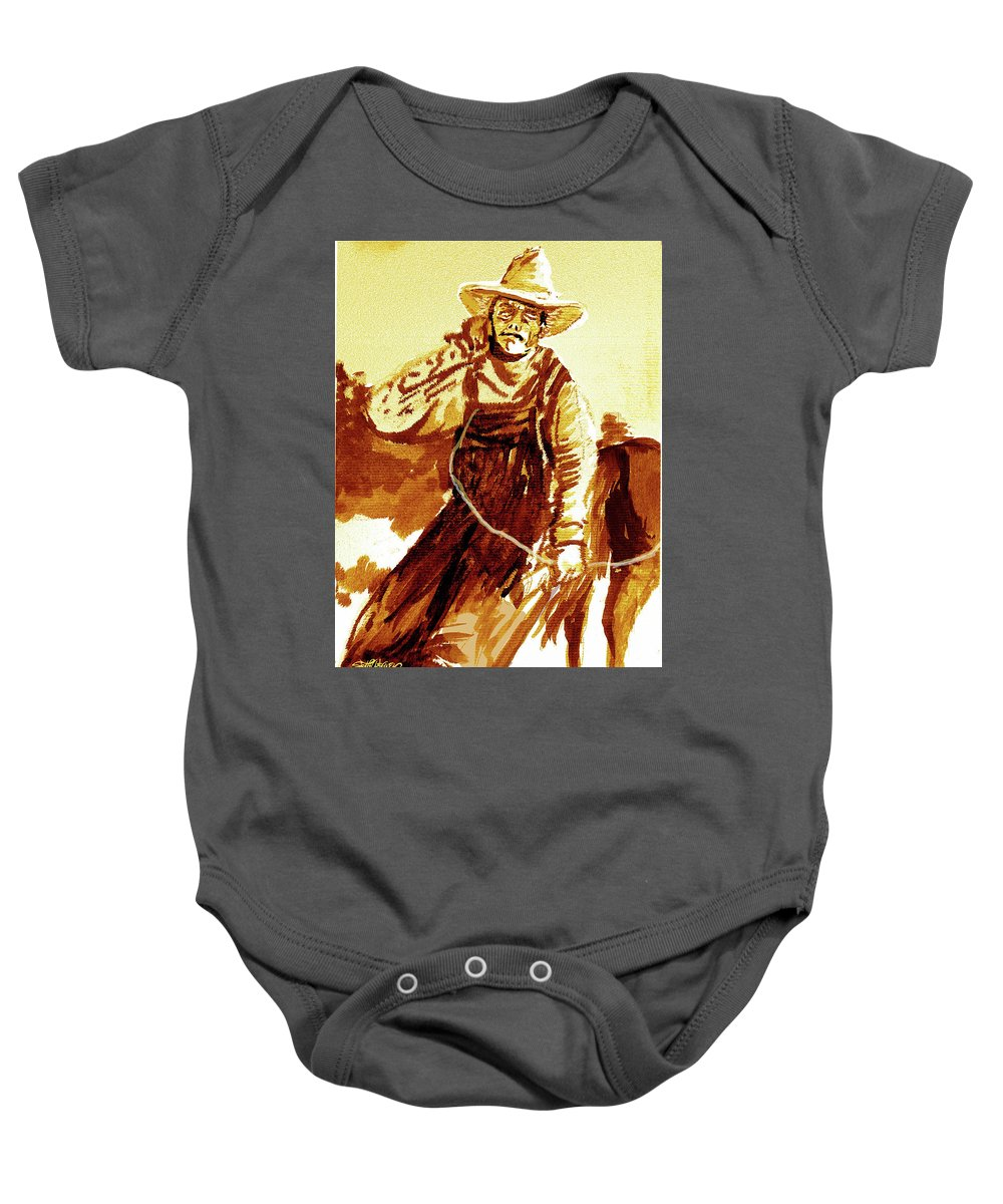 Tobacco Baby Onesie featuring the mixed media Behind The Plow by Seth Weaver