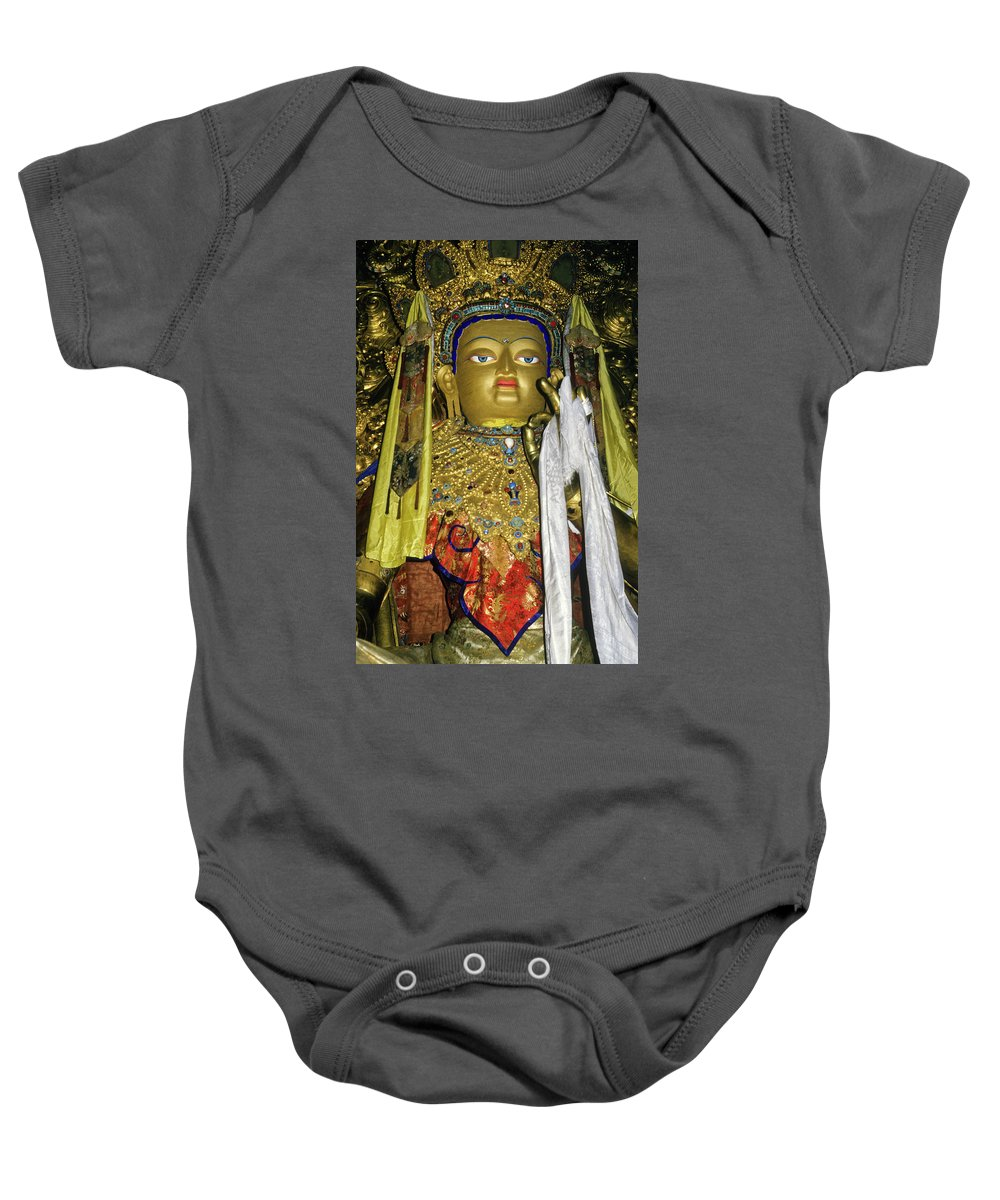 Tibet Baby Onesie featuring the photograph Bejeweled Buddha by Michele Burgess