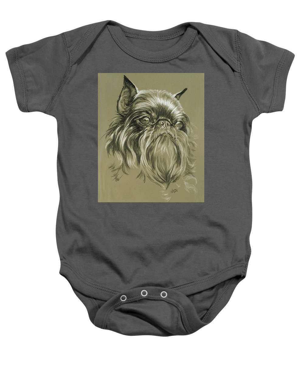 Toy Group Baby Onesie featuring the drawing Belgian Griffon by Barbara Keith