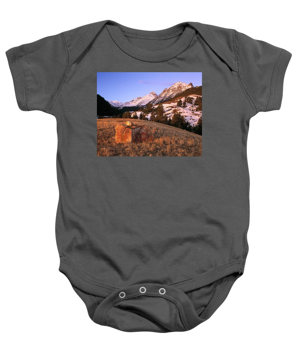 Bell Mountain Baby Onesie featuring the photograph Bell Mountain Sunrise by Leland D Howard