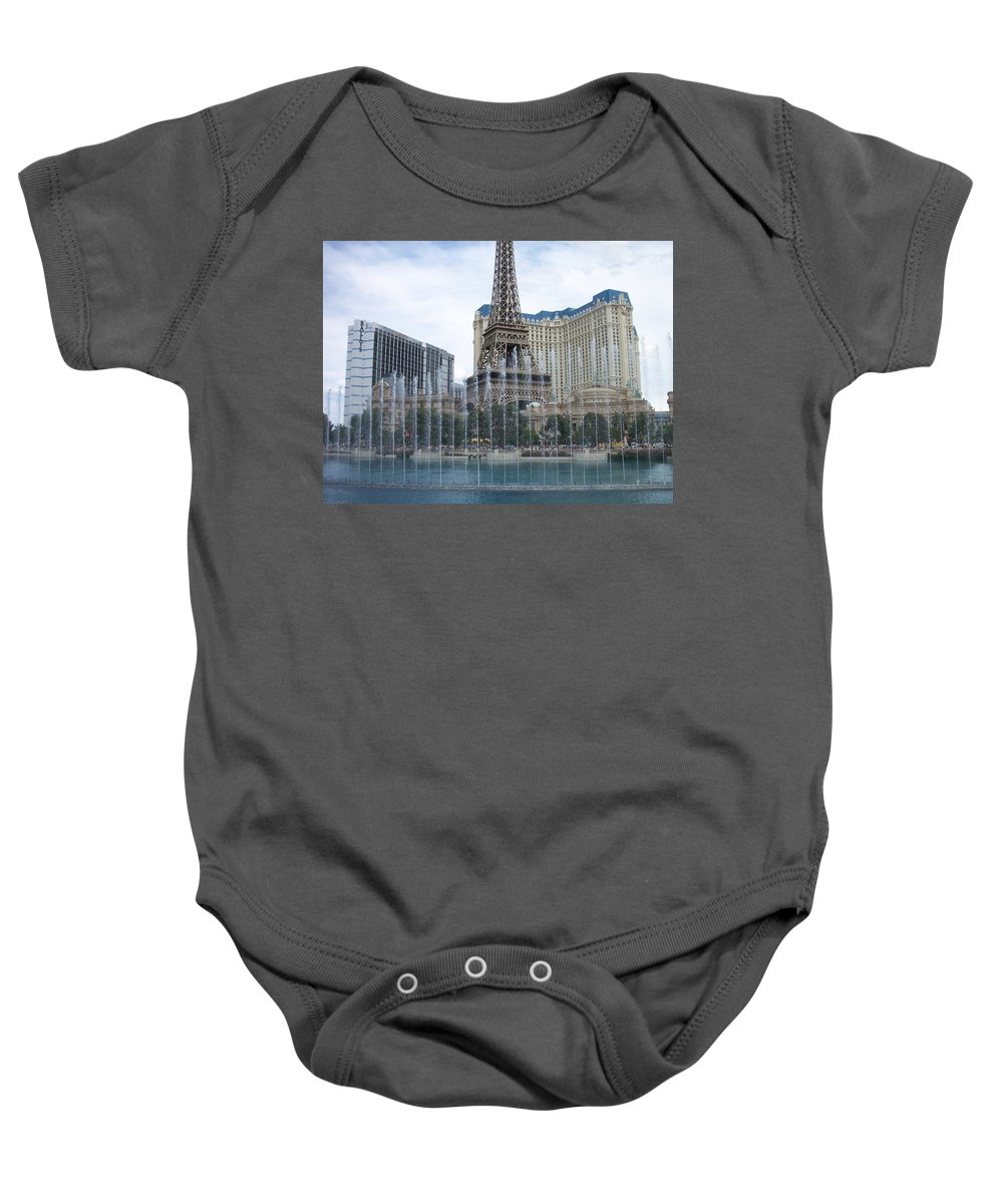 Bellagio Fountain Baby Onesie featuring the photograph Bellagio Fountain 1 by Anita Burgermeister