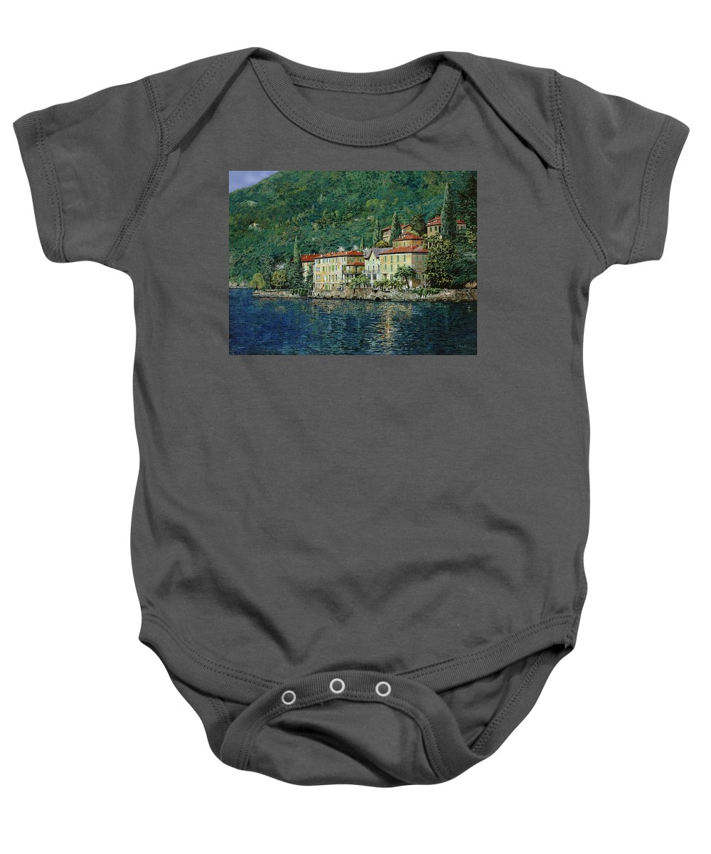 Landscape Baby Onesie featuring the painting Bellano On Lake Como by Guido Borelli