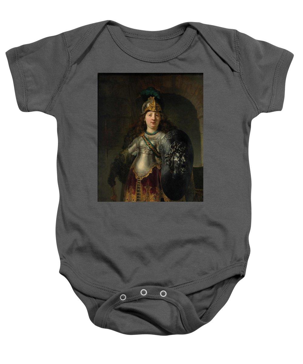 Bellona Baby Onesie featuring the painting Bellona by Rembrandt Harmenszoon van Rijn