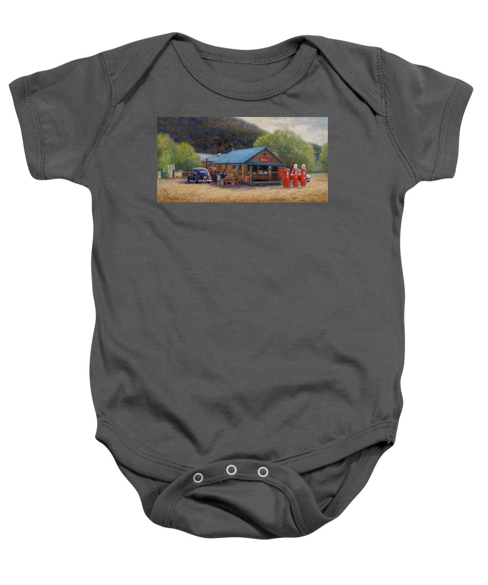 Realism Baby Onesie featuring the painting Below Taos 2 by Donelli DiMaria