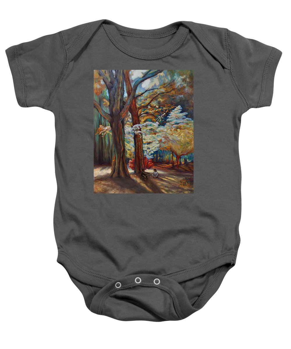 Trees Baby Onesie featuring the painting Below The Blossums by Maris Salmins