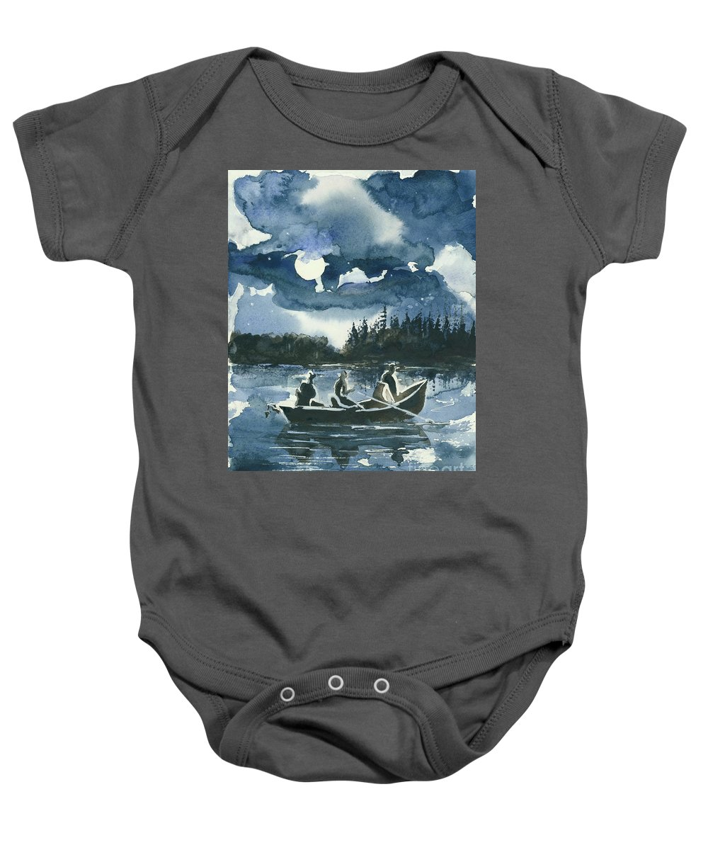 Watercolor Baby Onesie featuring the painting Beneath The Stars by Elisabeta Hermann