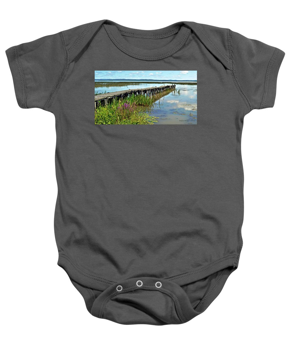 Dock Baby Onesie featuring the photograph Bennett's Landing by Gregory Steele