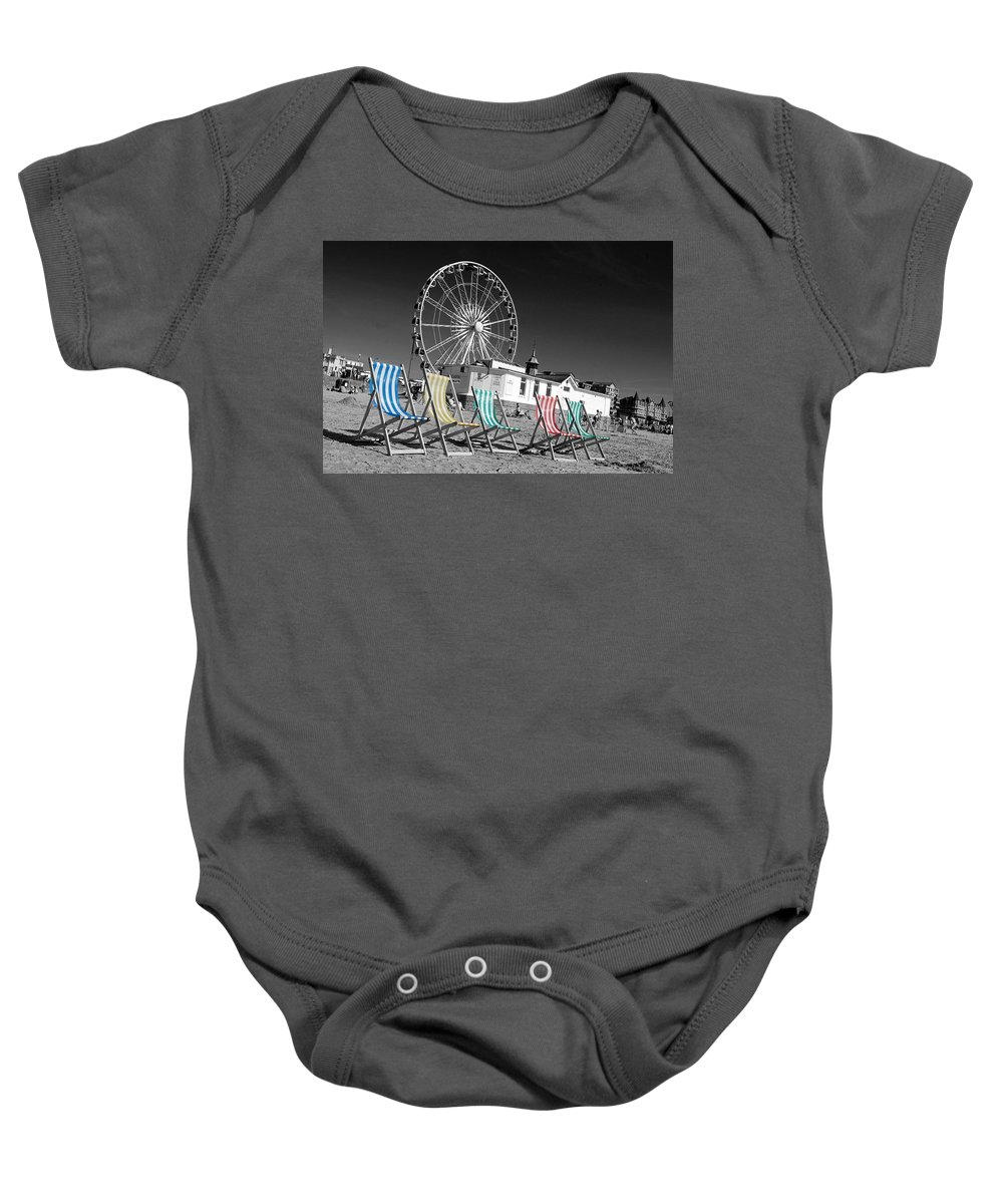 Deckchairs Baby Onesie featuring the photograph Beside The Seaside Beside The Sea by Rob Hawkins