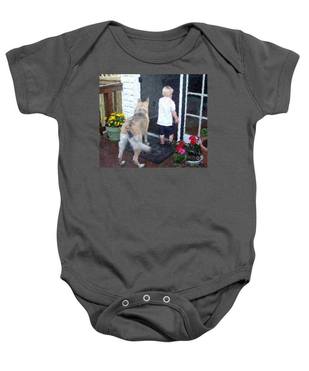 Dogs Baby Onesie featuring the photograph Best Friends by Debbi Granruth
