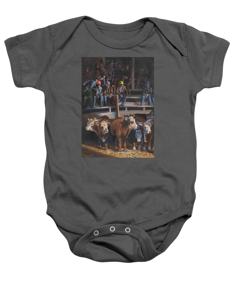 Cattle Baby Onesie featuring the painting Bet These'll Go High by Mia DeLode
