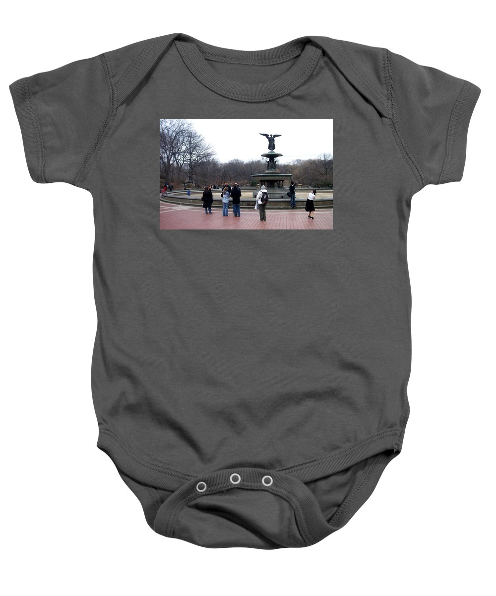 Bethesda Fountain Baby Onesie featuring the photograph Bethesda Fountain by Anita Burgermeister