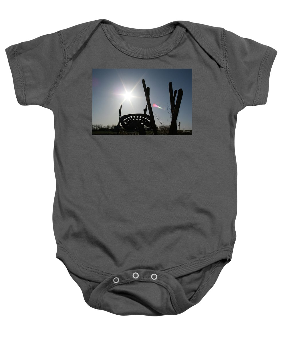 Antique Old Tractor Seat Farm Equipment Sunset Sky Scenery Baby Onesie featuring the photograph Better Days by Andrea Lawrence