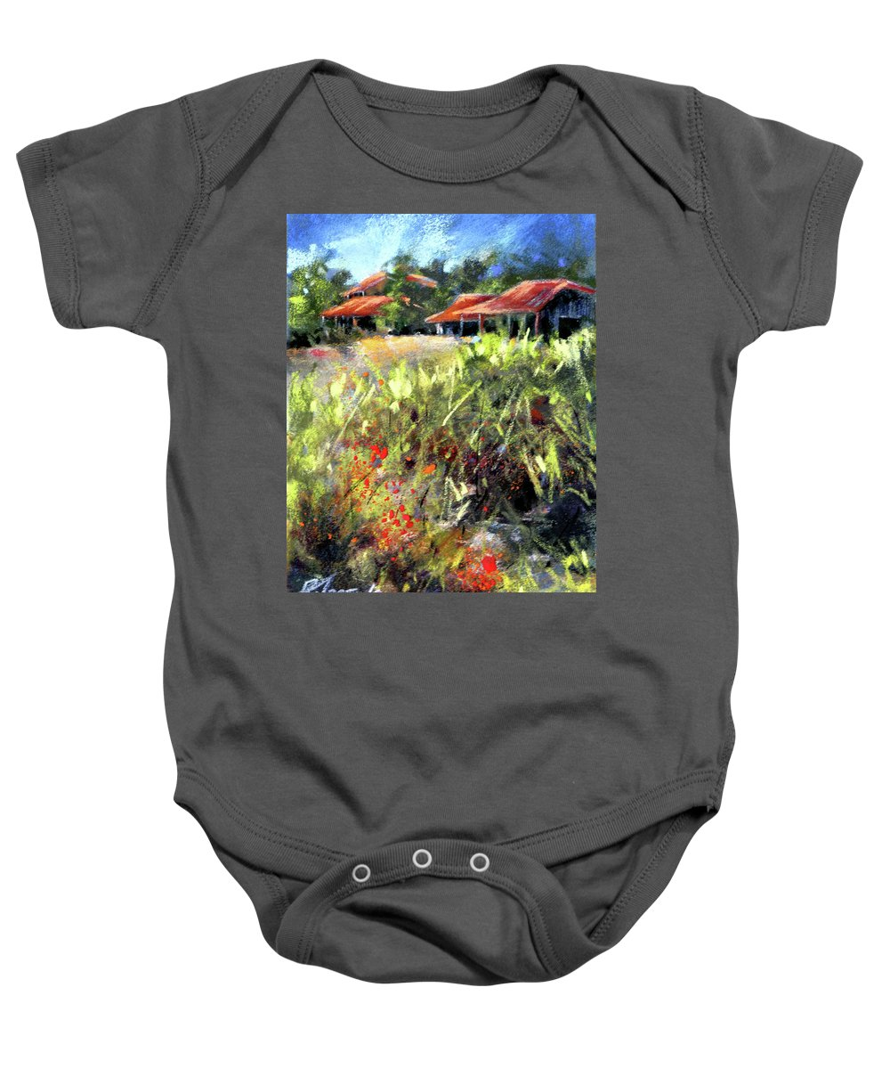 Pastel Baby Onesie featuring the painting Beyond The Red Flowers by Rae Andrews