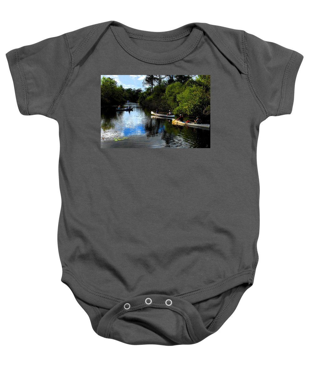 Big Cypress National Preserve Florida Baby Onesie featuring the painting Big Cypress Outing by David Lee Thompson