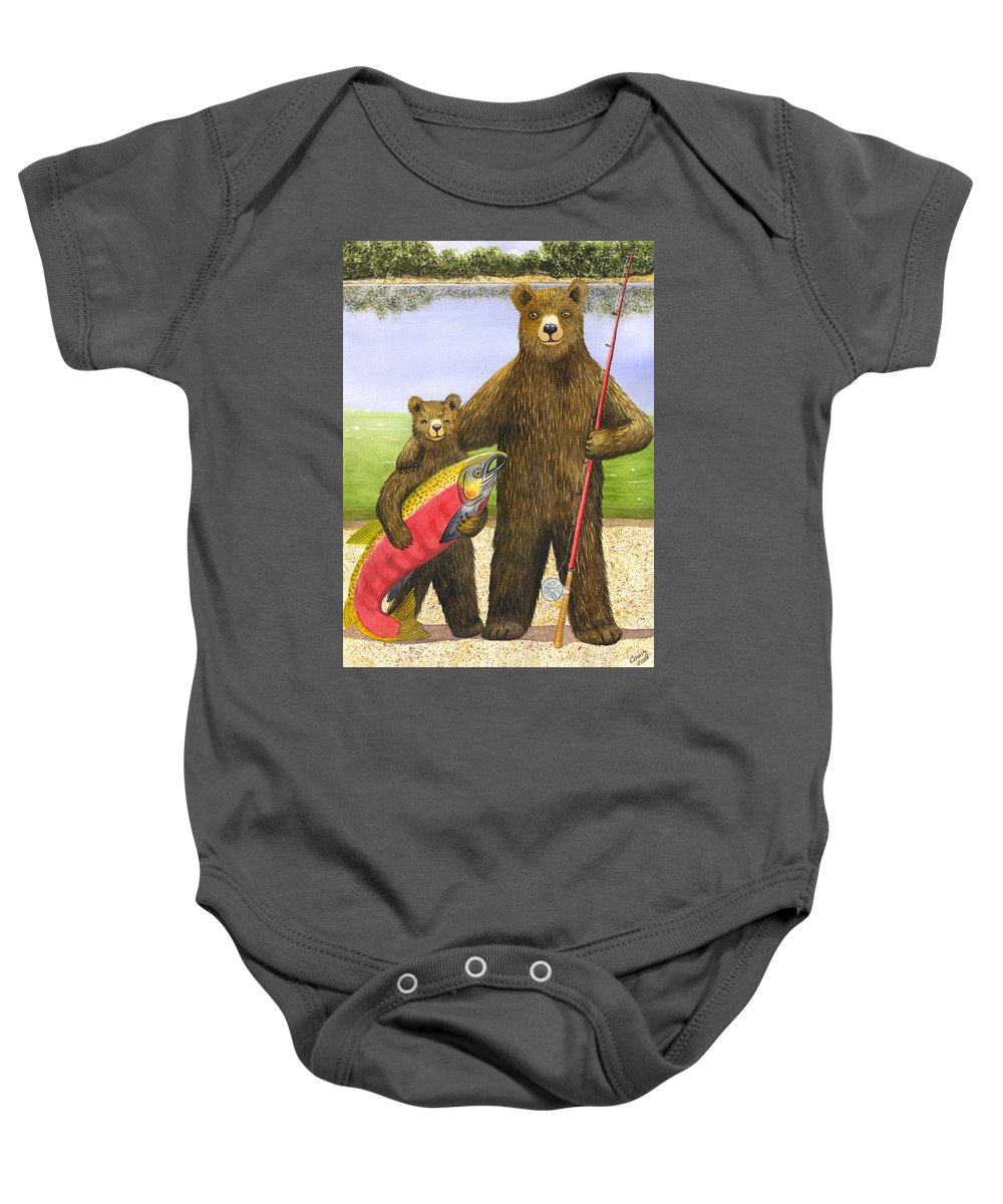 Bear Baby Onesie featuring the painting Big Fish by Catherine G McElroy