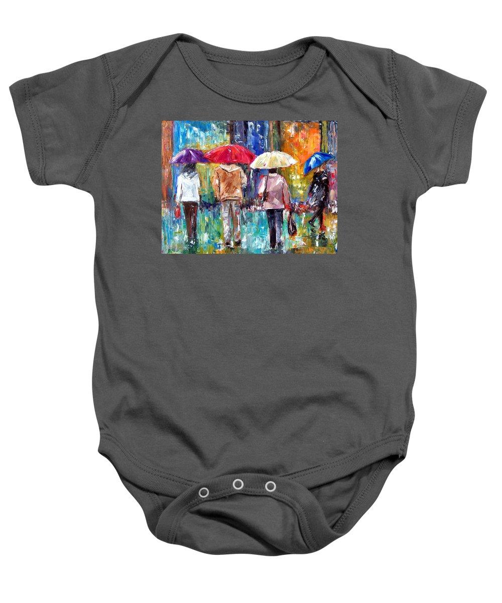 Rain Baby Onesie featuring the painting Big Red Umbrella by Debra Hurd