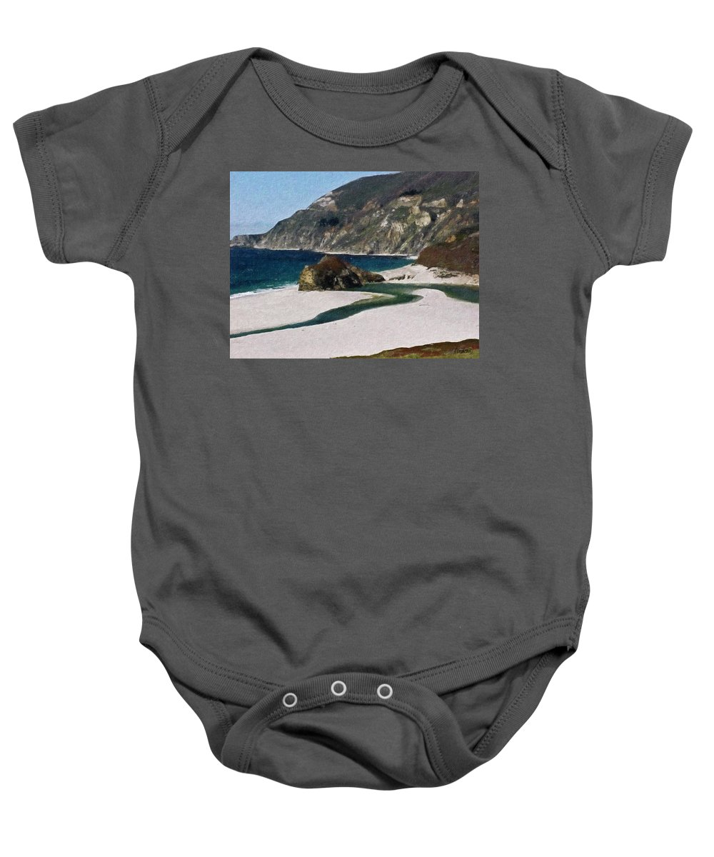 California Baby Onesie featuring the painting Big Sur California by Teresa Mucha