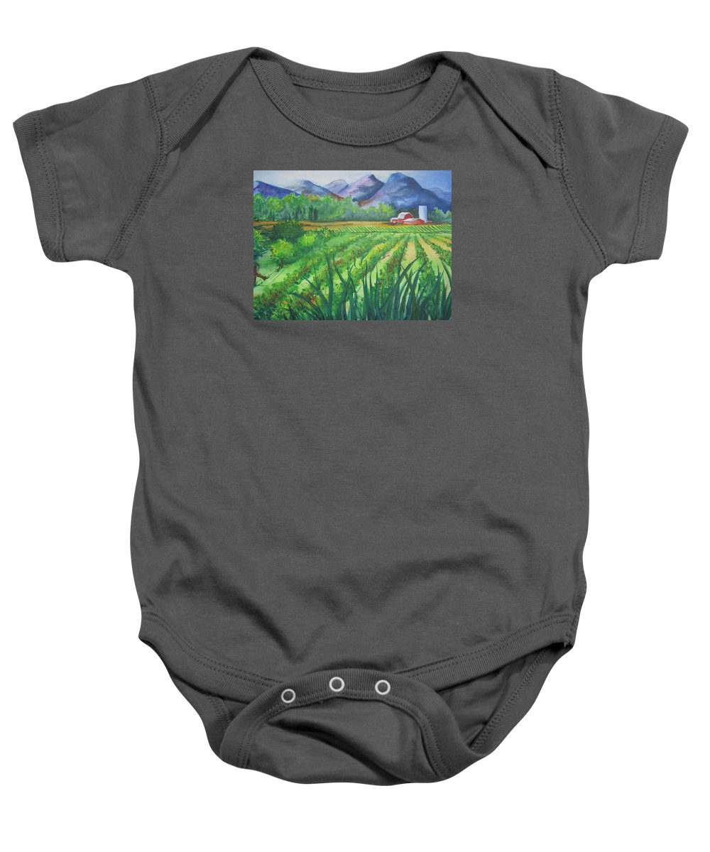 Landscape Baby Onesie featuring the painting Big Valley Farm by Karen Stark