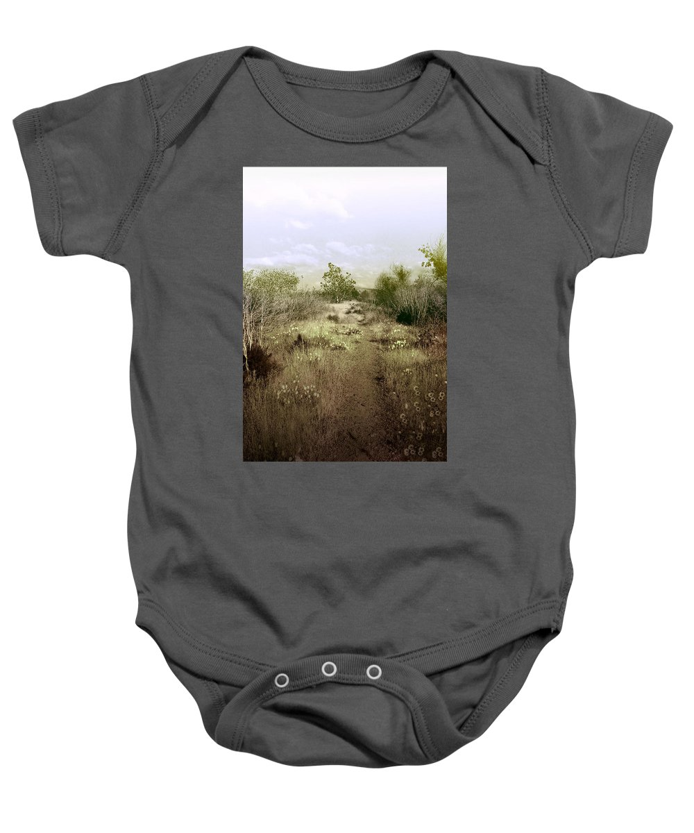 Landscape Baby Onesie featuring the photograph Bike Path Brown by Karen W Meyer
