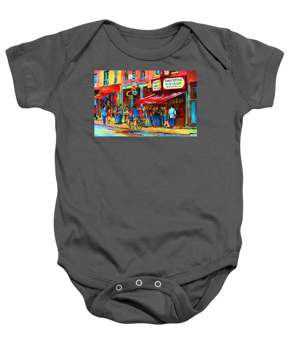Schwartzs Smoked Meat Deli Baby Onesie featuring the painting Biking Past The Deli by Carole Spandau