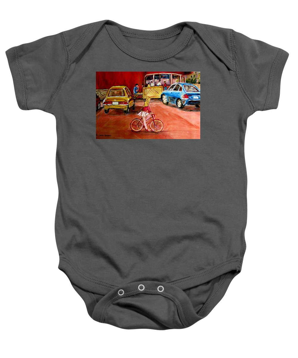 Orange Julep Baby Onesie featuring the painting Biking To The Orange Julep by Carole Spandau