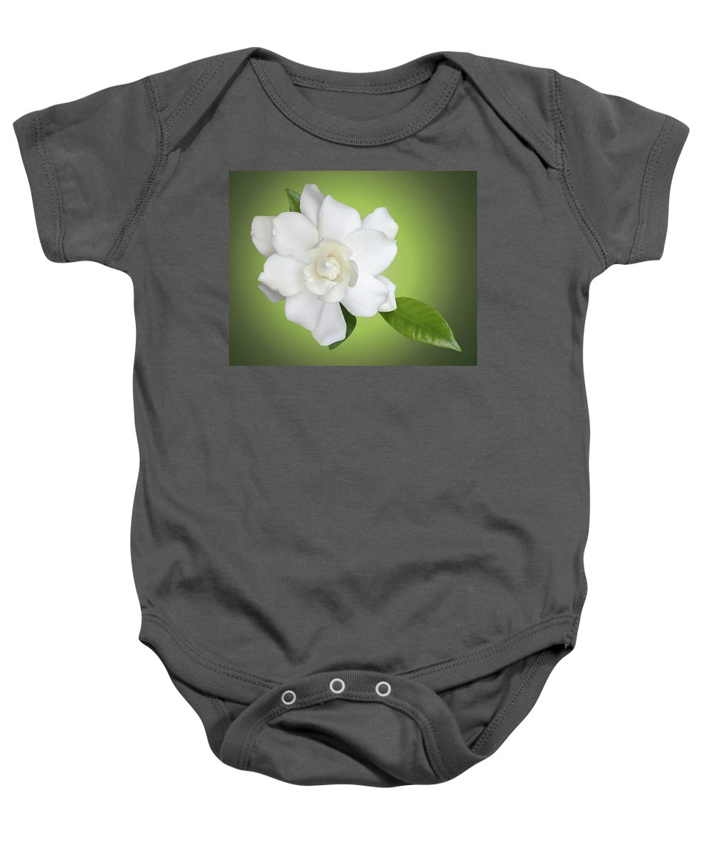 Gardenia Baby Onesie featuring the photograph Billie's Flower by Kristin Elmquist