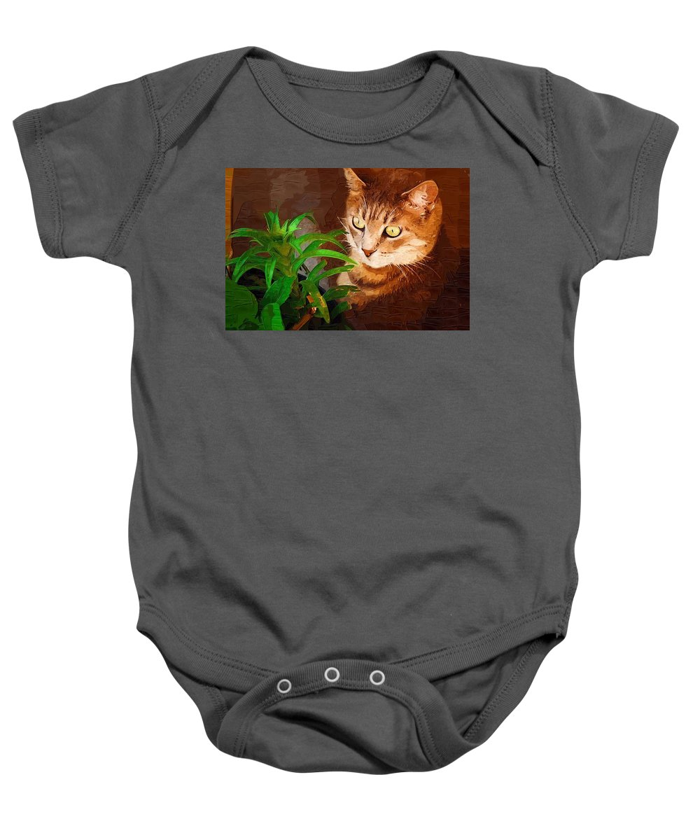 Cat Baby Onesie featuring the photograph Bink by Donna Bentley